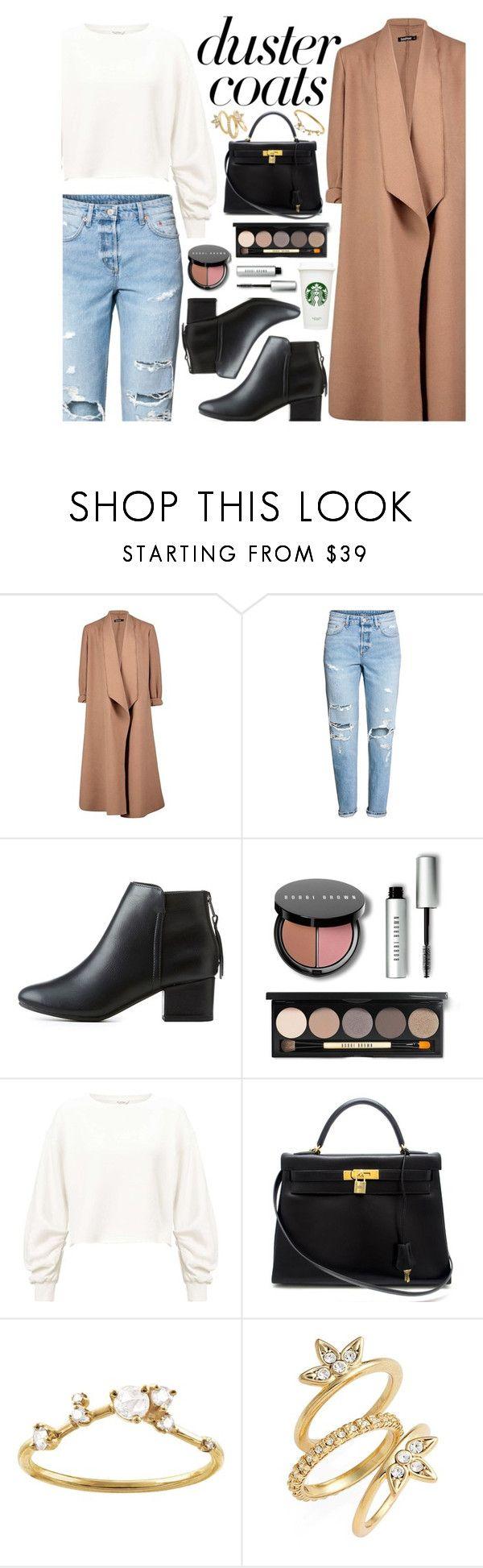"""Duster Coats"" by xxfashiongirl12xx ❤ liked on Polyvore featuring Boohoo, H&M, City Classified, Bobbi Brown Cosmetics, Miss Selfridge, Hermès, WWAKE, Luv Aj, starbucks and Sweatshirt"