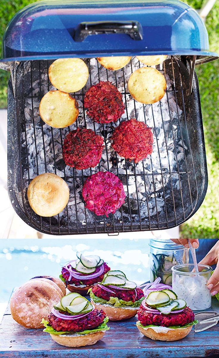 Deliciously vibrant, these beetroot burgers are sure to be a hit at any barbecue. Serve with toasted buns, soured cream, lettuce, red onion slices and soused cucumbers.
