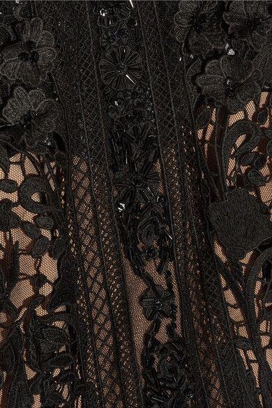 Marchesa Notte - Embellished Guipure Lace Mini Dress - Black - US10