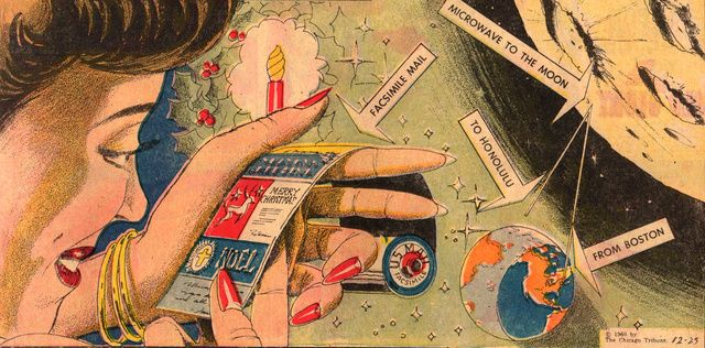 A 1960's look into the future of electronic Christmas cards.