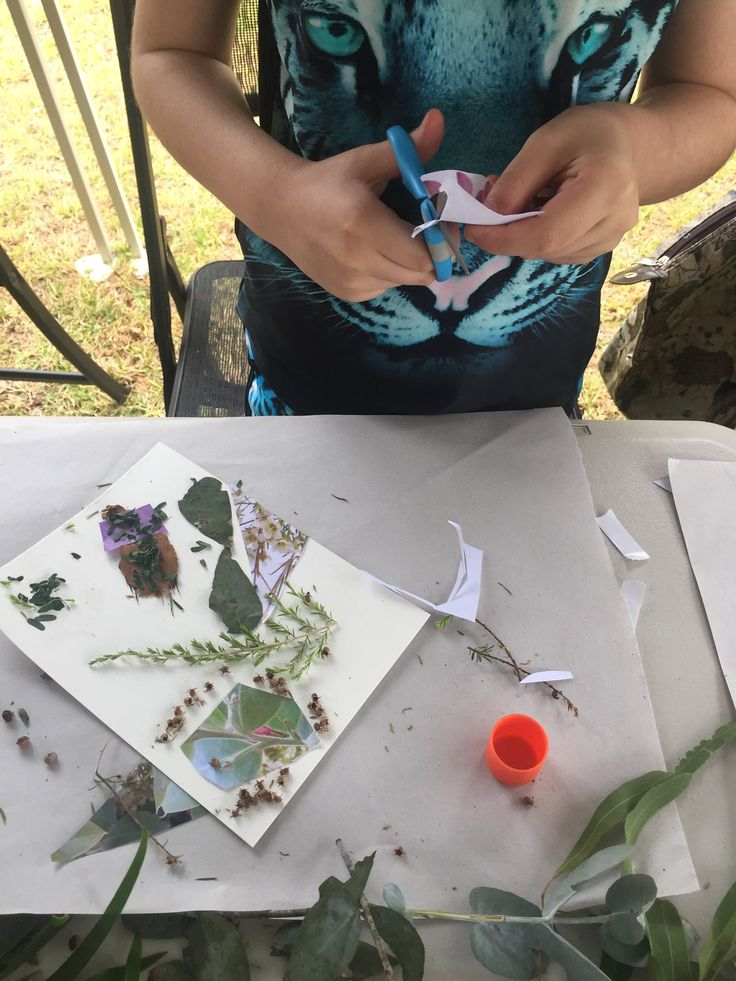 Young artist creating a botanic collage. Children's botanic collage workshop, Australia Day (Jan 26th) 2017 at Hornsby Park, Hornsby. My workshop was part of the Hornsby Shire  Council's, Australia Day event. All plants sourced from my garden and are Australian natives. Image via Hornsby Shire Council's Facebook page. Creative Process Workshop.