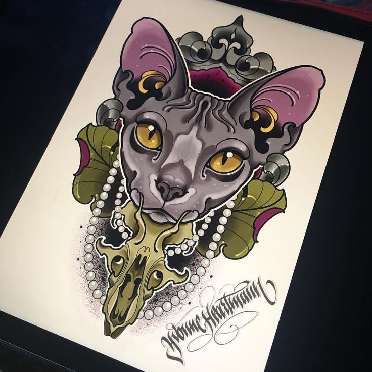 "Polubienia: 172, komentarze: 11 – Yvonne Heartmann Tattoo (@yvonneheartmann) na Instagramie: ""I'd like to tattoo this #sphynx #cat on upcoming @warsawtattooconvention  DM for more info  #ipad…"""