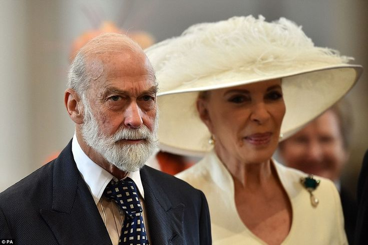 Ready to celebrate? The Prince and Princess Michael of Kent looked a little stern as they made their way into the Cathedral for the service