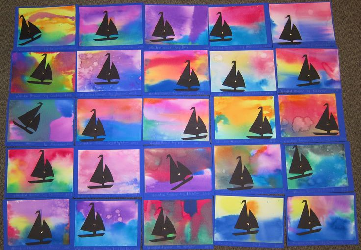My kindergarten students studied the artist Winslow Homer and make these beautiful paintings using watercolors and a die-cut of the sailboat.  They enjoyed it very much.  Thank you Karyn V.