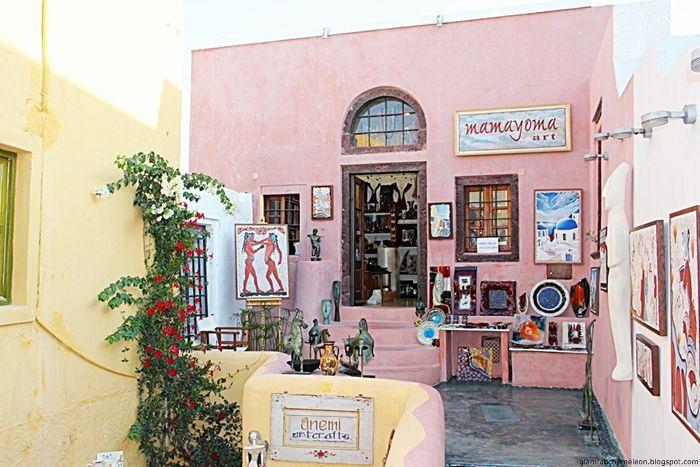Santorini island: Oia town colorful shops