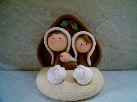 Nativity Holiday Figurines por countrycupboardclay en Etsy