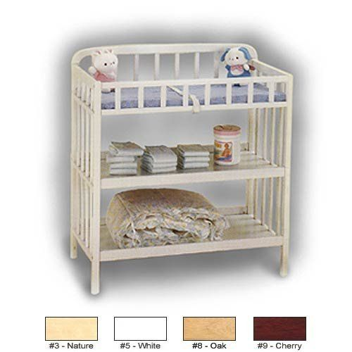 CONTEMPORARY CHANGER - CHERRY by ANGEL LINE. $109.00. Solid wood construction and non-toxic finish. Come with a reversible. Waterproof foam pad. Two shelves allow for accessible storage. CONTEMPORY CHANGER is a contempory styled table designed to fit into any nursery. It has a rounded arches with flat slat railings and safety belt to keep your baby safe during those moments. Two spacious shelves beneath. The convenient changing station accommodates all your nursery and changin...