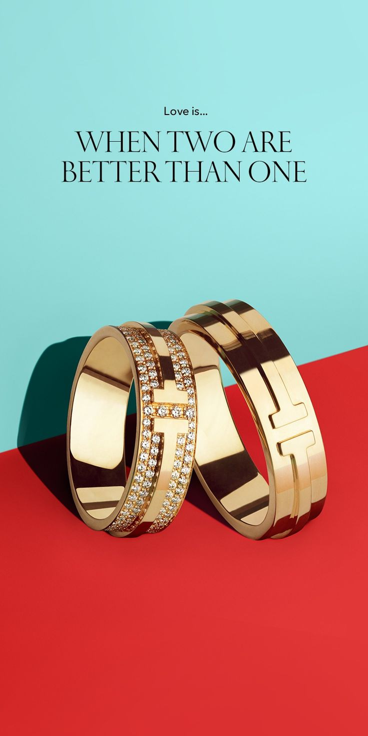 A pair always wins. Tiffany T Two rings in 18k gold and 18k gold with pavé diamonds.