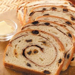 Swirled Cinnamon Raisin Bread Recipe -Slices of warm cinnamon bread and a cup of hot tea work wonders for holiday visitors to our home. My mother received this recipe from a friend in West Virginia.