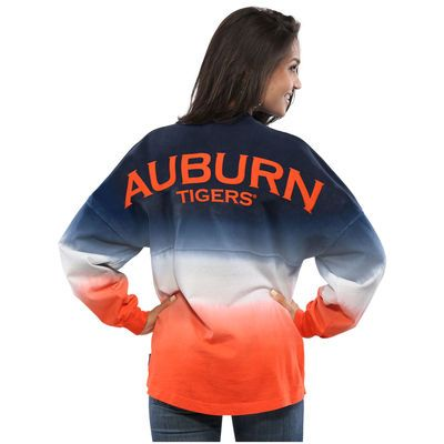 Auburn Tigers Women's Ombre Long Sleeve Dip-Dyed Spirit Jersey - Navy