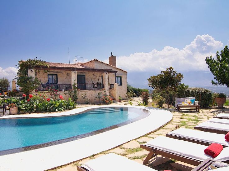Rethymno villa rental - An aspect of the Villa and pool terrace!
