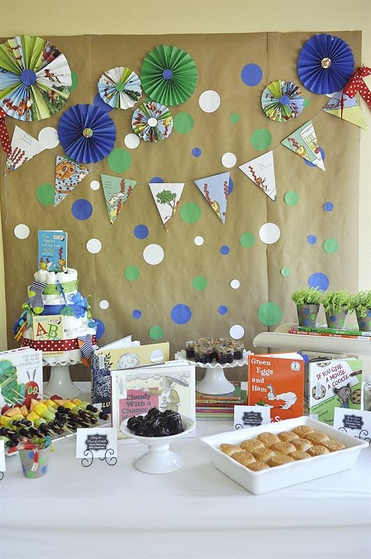 Storybook Baby Shower - your homebased mom.  The food was matched to children's storybooks--so cute!