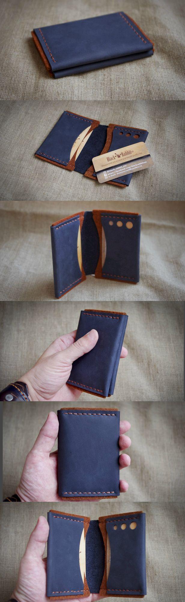 Minimalist Wallet, Best Leather Wallet, Slim Wallet, Cardholder  Картхолдер. Синяя кожа крейзи-хорз + коричневый флис 3 мм. Чисто под карты, размер в сложенном виде 8х11 см. Очень приятный на ощупь.