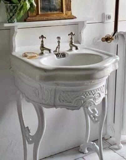 Vintage/antique Old Enamel Sink For Small Bathroom + French