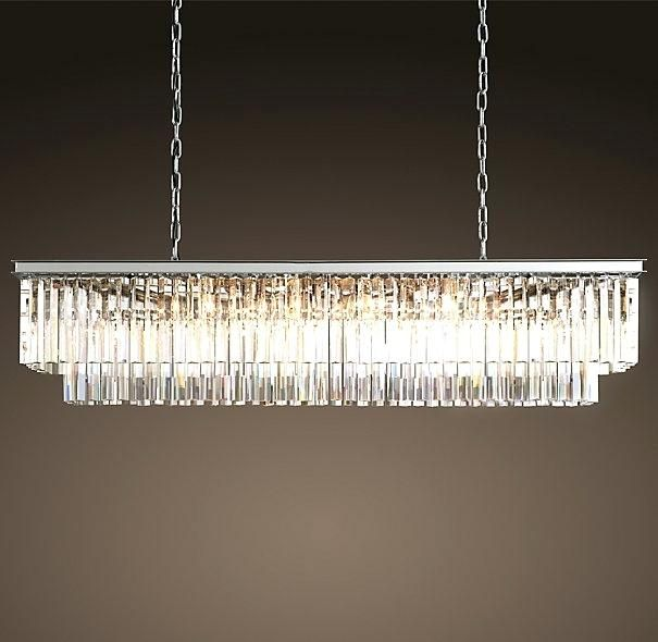 Restoration Hardware Odeon Rectangular Chandelier 1920s Glass Fringe