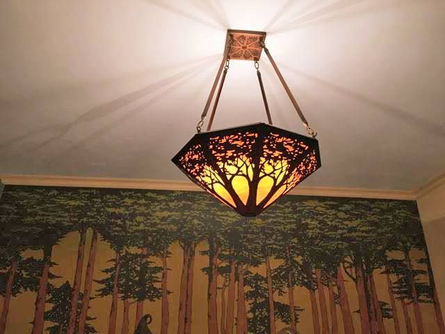 Bungalow Chandelier Part - 45: Artisan-made Tree Chandelier - Etched Copper And Art Glass. Inspired By  American Bungalow