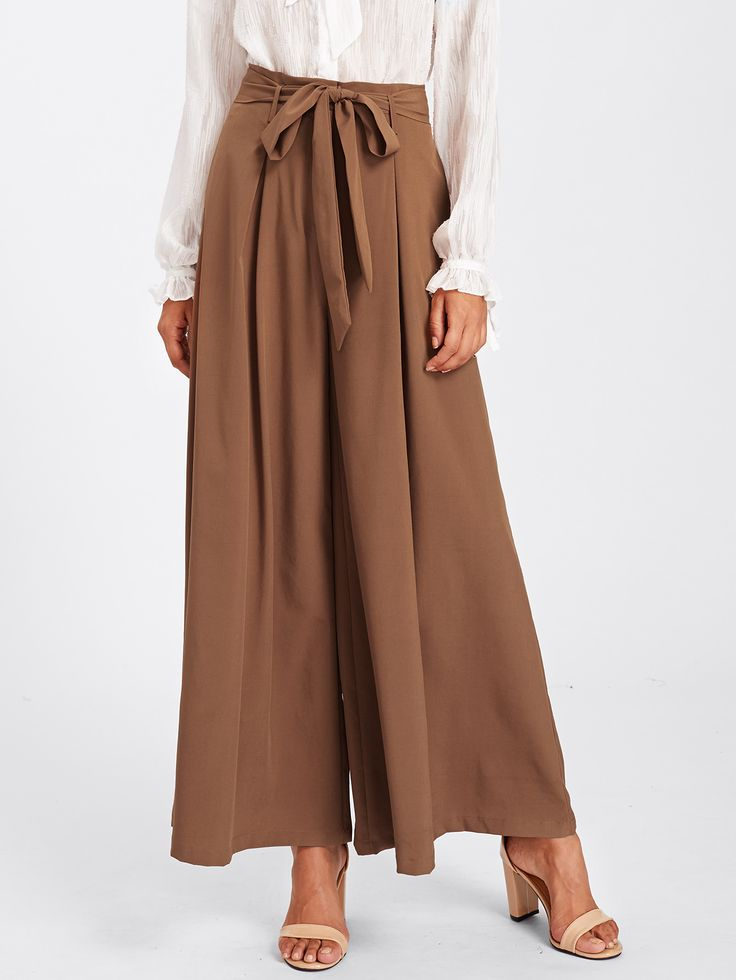 Shop Self Belted Skirt Palazzo Pants online. SheIn offers Self Belted Skirt Palazzo Pants & more to fit your fashionable needs.