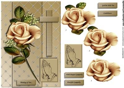 Sympathy Roses Cross praying hands  on Craftsuprint designed by Marijke Kok - A very beautiful design for the sad days in our life, also for encouragement, thinking of you.... - Now available for download!