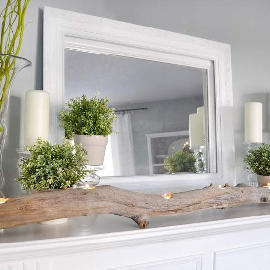 Nature-Inspired Spring Mantel- I like the candle stands used to hold the potted plant. Interesting driftwood candle holder as well. bit.ly/HPgktPMantles Decor, Decor Ideas, Fireplaces Mantels, Mantel Decor, Spring Mantle, Teas Lights, Corner Fireplaces, Drift Wood, Driftwood Candles Holders