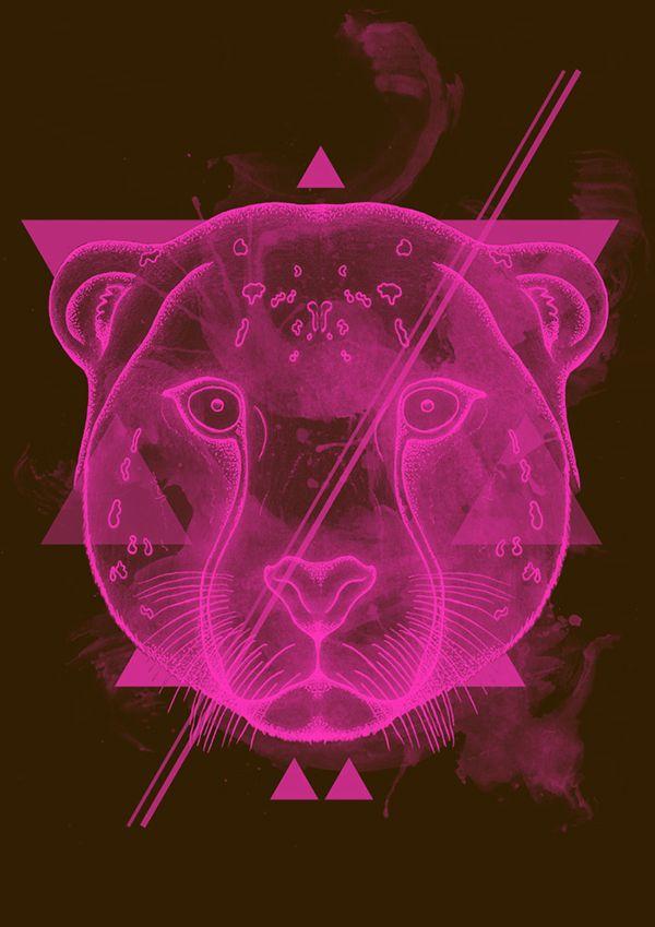 Neon Light Portrait On Behance: Animals, Art, Neon Signs