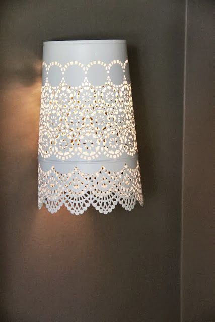 15 Awesome IKEA Hacks To Try.  Sconces  How about some pretty lacy sconces? You know you want some. See more here on Ikea Hackers.