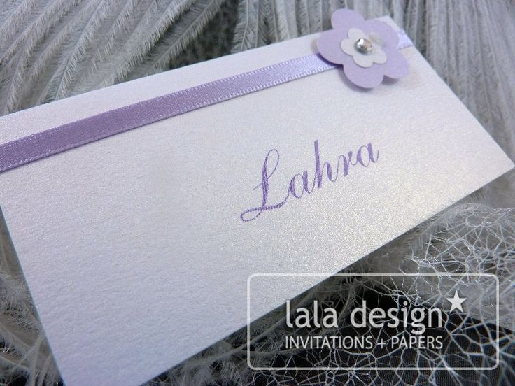 Purple ribbon with flower detail place card