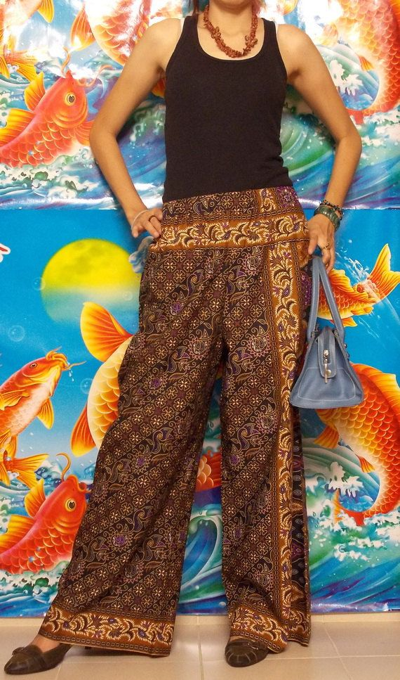 Black and Brown mixed Purple Long Pants ( Wide Leg) Free size, Thai Batik.. $29.95, via Etsy.