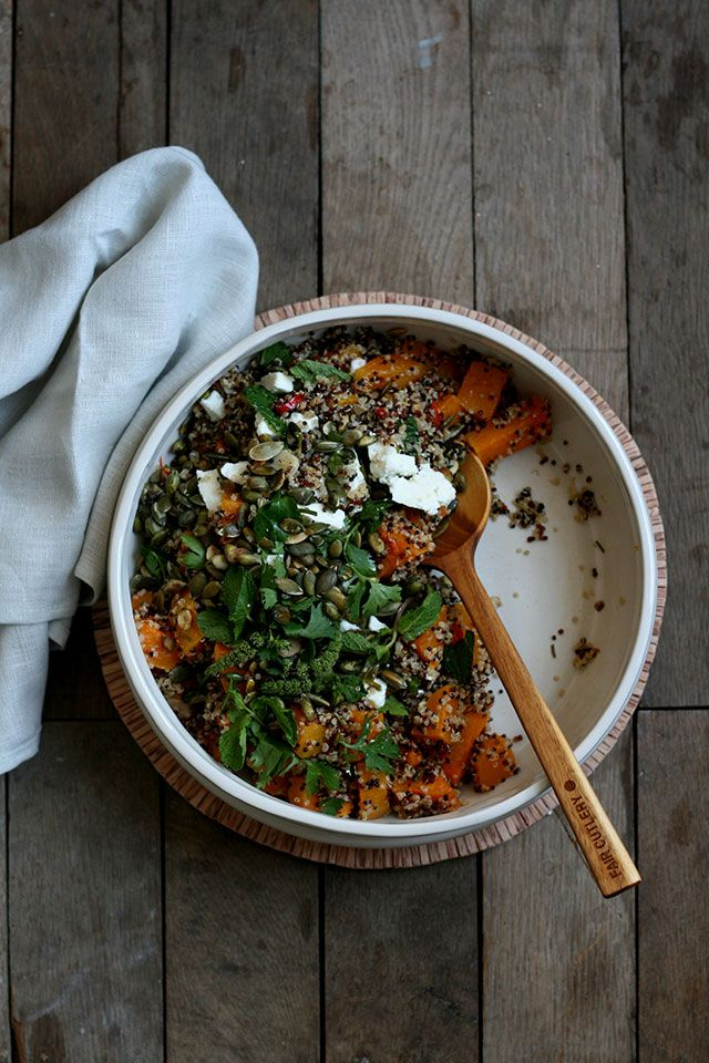 Quinoa salad with roasted pumpkin, feta, ginger, pumpkin seeds and cilantro.