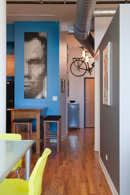 I like that painting and the blueHouse Tours, Abraham Lincoln, Bikes Storage, Paint Chips, Apartments Therapy, Pixelart, Diy Wall Art, Painting By Numbers, Pixel Art