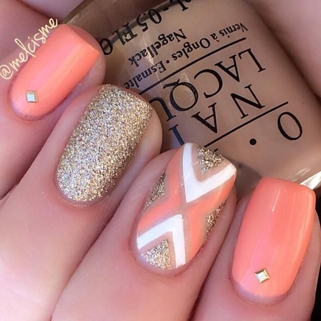 coral / #peach + gold #glitter nail design with geometric tape accent nail | #nailart @melcisme l design from @melcisme