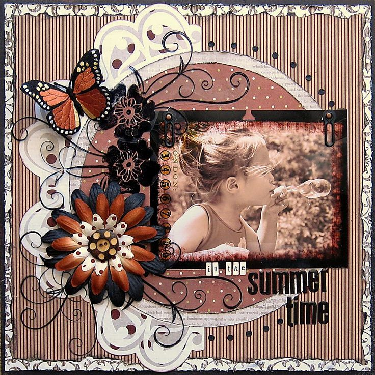 layout w/crimped paper background, big silk flower, black matting,inked or distressed edges to picture