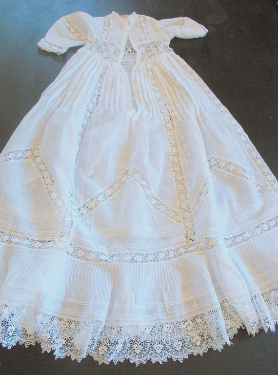 French Antique Christening Gown Handsewn With Beautiful