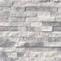 Image result for stacked stone backsplash grey and white