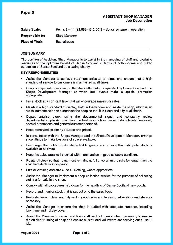 awesome Store Assistant Manager Resume That Can Bag You, resume - assistant manager job description
