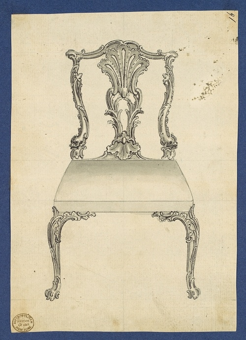 """Drawing by Thomas Chippendale, 1753-54, photo courtesy Metropolitan Museum of Art.    """"A chair is a very difficult object. A skyscraper is almost easier. That is why a Chippendale is famous."""" – Mies van der Rohe"""