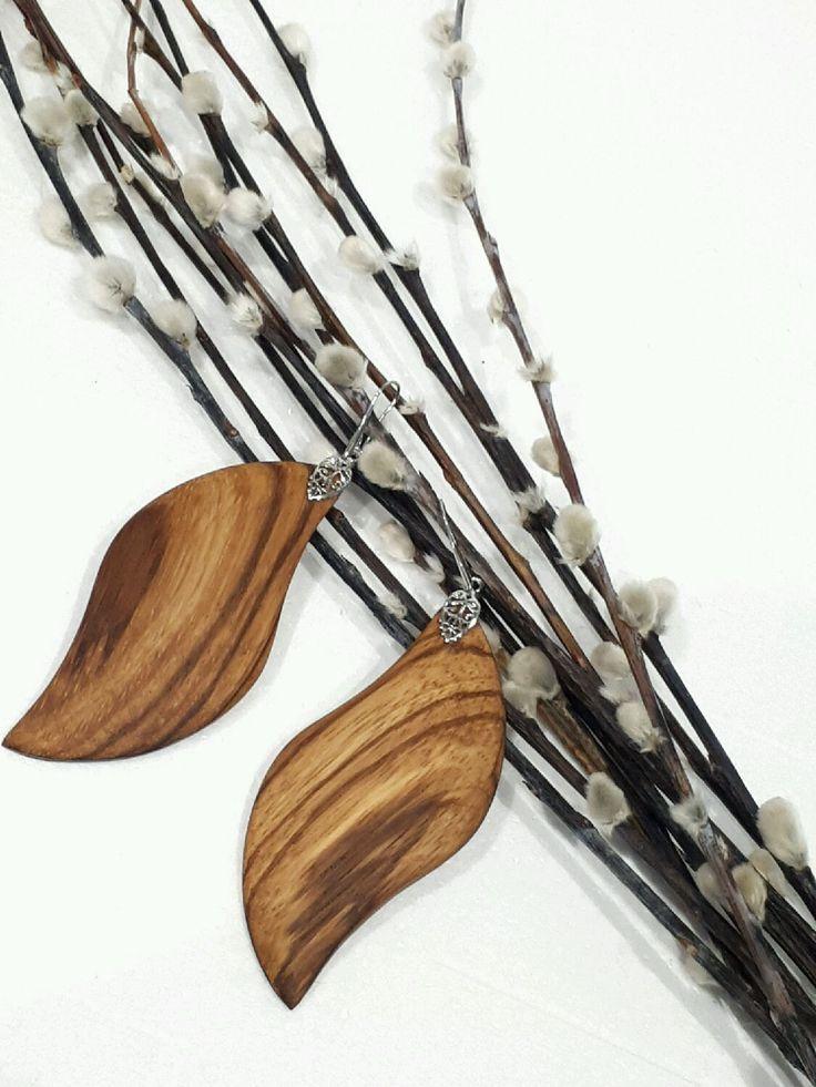 """Купить Серьги из дерева """"Листья"""" - комбинированный, светло бежевый, полосатый, длинные серьги, серьги из дерева"""