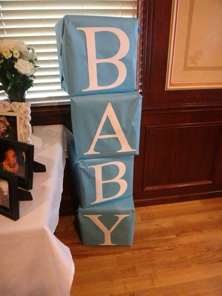 Teddy bear baby shower picture decor. Use crates wrapped in bulletin board paper. Silhouette cameo letters
