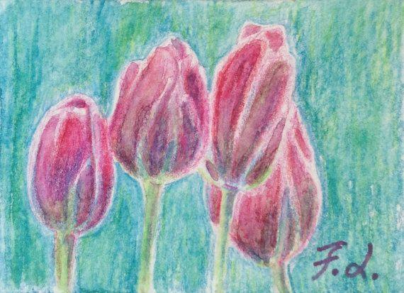 Originale ACEO con tulipani rossi matite di IlColoreMiPossiede