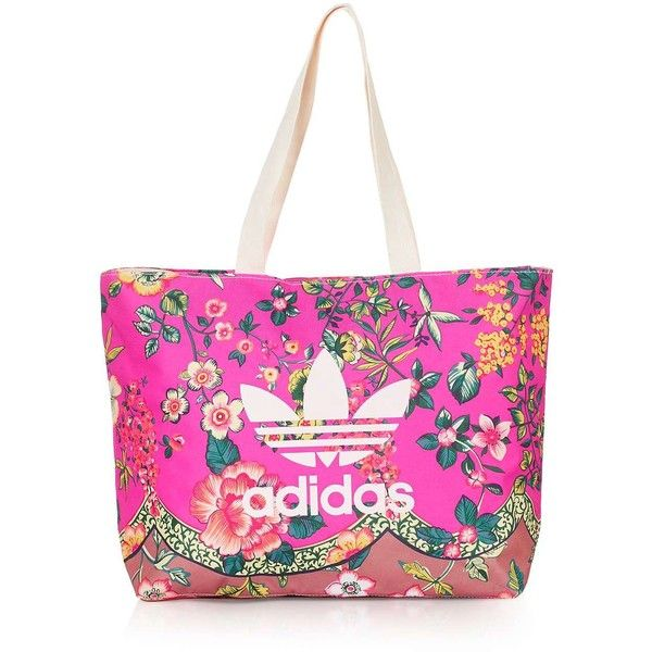 Floral Tote Bag by Adidas Originals ($51) ❤ liked on Polyvore featuring bags, handbags, tote bags, pink handbags, pink tote handbags, long strap purse, tote bag purse and topshop