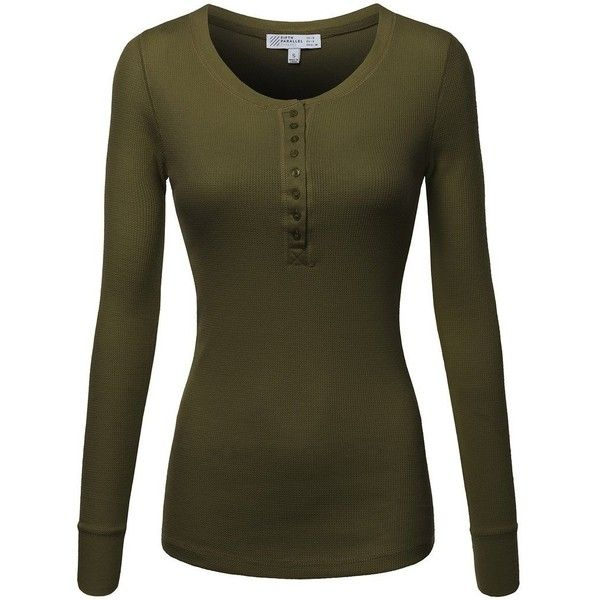 Fpt Womens Long Sleeve Crewneck Thermal Henley T Shirt 20