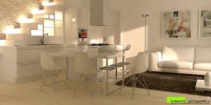 il render di un living con spazio cucina ricavato in corrispondenza con il vano scale, che diventa sia funzione, sia elemento estetico sul quale si impernia il resto dello spazio  Per contatti: arch.gallo@internieprogetti.it