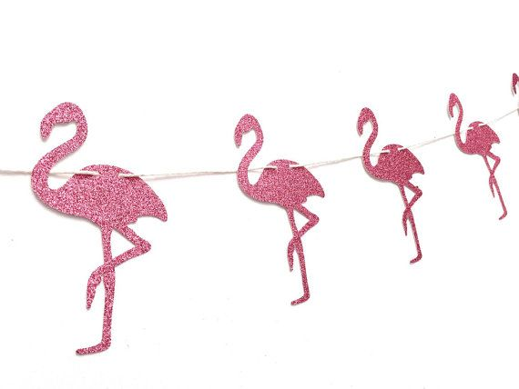 Glitter Flamingo Banner - Flamingo Banner - Flamingo Party Decoration // Tropical Birthday Party Supplies // Luau Party Decor