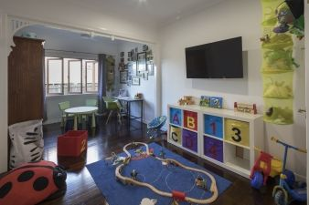 This playroom in the old part of the house makes the most of the available space