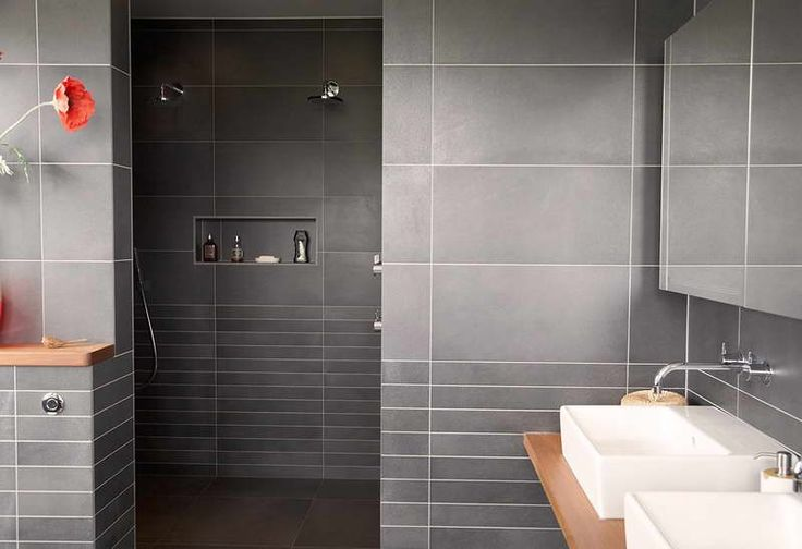 Modern Small Bathroom Tile Design ~ http://lovelybuilding.com/simple-and-beautiful-tile-designs-small-bathrooms/