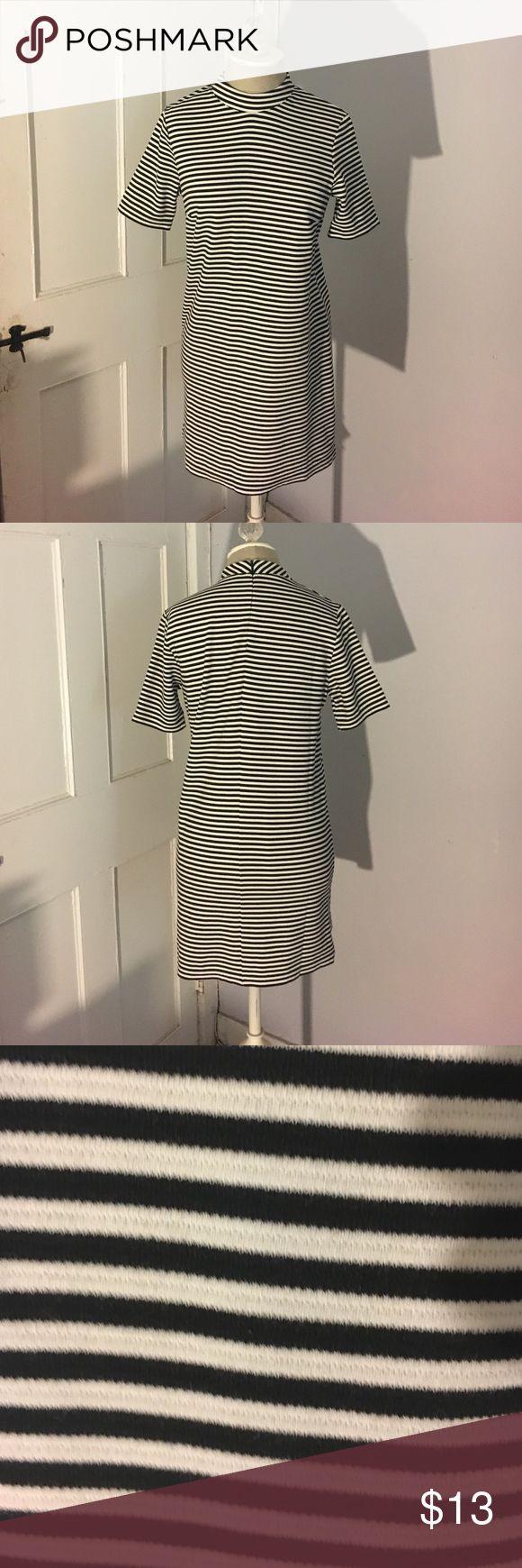Striped mini dress Black and white striped mini dress. Zipper in back. High neckline. Forever 21 Dresses Mini