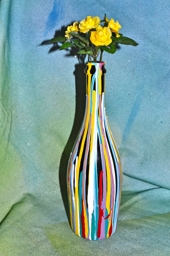 Hand Painted Glass Bottle by Kelli065 on Etsy, $27.00