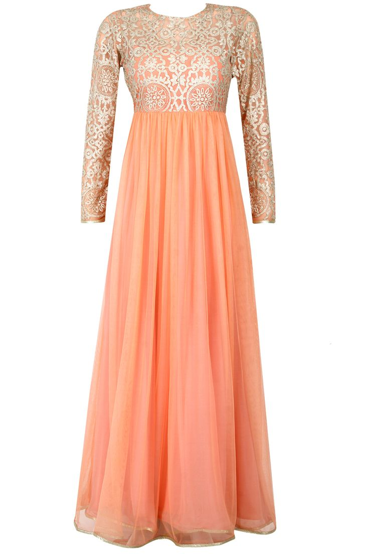 Peach embroidered floor length anarkali available only at Pernia's Pop-Up Shop.