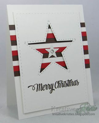 handmade Christmas card from Kreative Kristie (cut out any Christmas shape) ... mod look ... red, white and blue striped paper in a wide band on the background ... top panel popped up leaving wide borders and a deeper space for negative space star die cut ... like it! ... could well be a patriotic or Fourth of July card ...