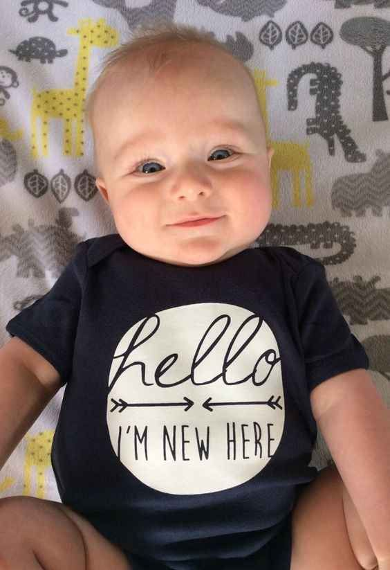 "This onesie that says, ""I'm new here."" 19 Coming Home Outfits for Your Newborn"