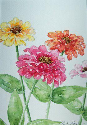roseann hayes watercolor | FourZinniasPortCU111508100_1115.jpg